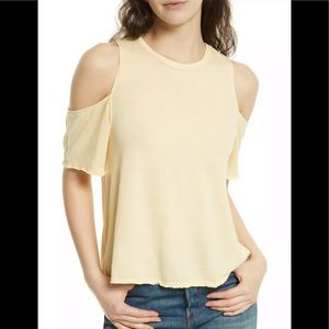 NWT Free People Taurus Yellow Cold Shoulder Tee